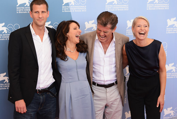 Pierce Brosnan &#40;second from right&#41;, wearing a suit and a Squadra Rose Gold Jaeger-LeCoultre watch, attends the photo call for &#39;Love Is All You Need&#39; at the Venice Film Festival in Italy on Sept. 2, 2012. On the left are screenwriter Anders Thomas Jensen and director Susanne Bier. Actress Trine Dyrholm appears on the right. <span class=meta>(Ian Gavan&#47;Getty Images for Jaeger-LeCoultre)</span>