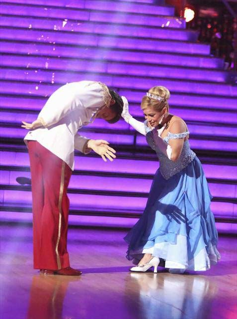 Sabrina Bryan and Louis Van Amstel appear in a still from 'Dancing With The Stars: All-Stars' on October 23, 2012.