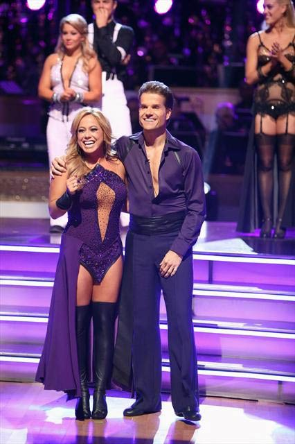 Disney Channel actress Sabrina Bryan and her partner Louis Van Amstel react to being safe from elimination on 'Dancing With The Stars: The Results Show' on Tuesday, Oct. 9, 2012.