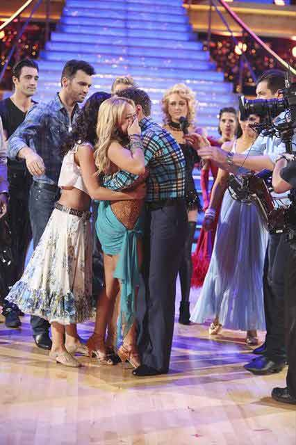 Disney Channel actress Sabrina Bryan and her partner Louis Van Amstel react to being eliminated on &#39;Dancing With The Stars: The Results Show&#39; on October 30, 2012. The two received 30 out of 30 points from the judges for their Rumba on &#39;Dancing With The Stars: All-Stars,&#39; which aired on October 29, 2012. <span class=meta>(ABC Photo)</span>