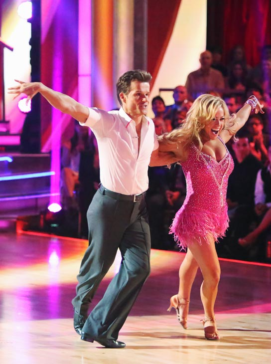 "<div class=""meta ""><span class=""caption-text "">Emmy-winning co-host Tom Bergeron stands beside Disney Channel actress Sabrina Bryan as she stands with her partner Louis Van Amstel. They received 22.5 out of 30 points from the judges for their Cha Cha Cha on the season premiere of 'Dancing With The Stars: All-Stars,' which aired on September 24, 2012.  (ABC / Adam Taylor)</span></div>"