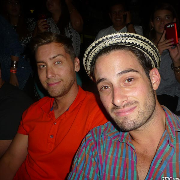 Lance Bass and fiance Michael Turchin appear at a Backstreet Boys concert at the Gibson Amphitheatre in the Universal City area of Los Angeles on Sept. 4, 2013.