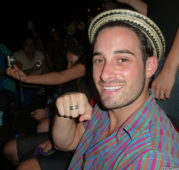 Lance Bass&#39; fiance Michael Turchin shows his engagement ring at a Backstreet Boys concert at the Gibson Amphitheatre in the Universal City area of Los Angeles on Sept. 4, 2013. <span class=meta>(Jacob Burch &#47; OTRC.com)</span>