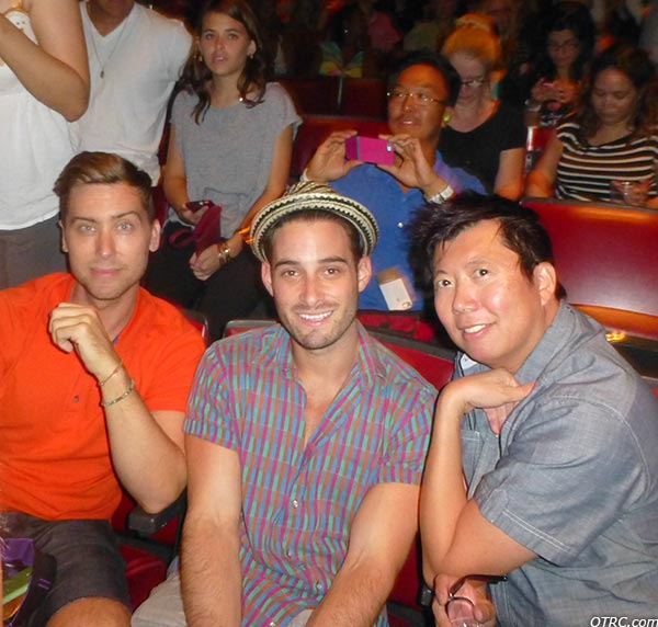 Lance Bass, fiance Michael Turchin and a friend appear at a Backstreet Boys concert at the Gibson Amphitheatre in the Universal City area of Los Angeles on Sept. 4, 2013.