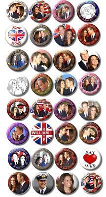 Thirty-two button badges of Will and Kate going...