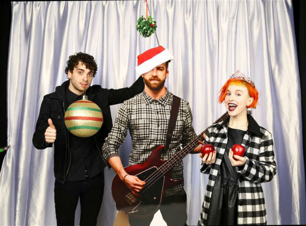 Members of the band Paramore pose in a holiday-themed photo booth at Z100&#39;s Jingle Ball 2013 on Dec. 13, 2013, just before Christmas. <span class=meta>(Sara Jaye Weiss  &#47; Startraksphoto.com)</span>