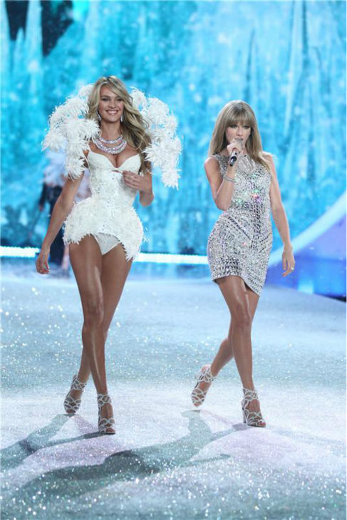 "<div class=""meta ""><span class=""caption-text "">Taylor Swift performs on the runway at the 2013 Victoria's Secret Fashion Show at the Lexington Armory in New York on Nov. 13, 2013.  Pictured on the right: Supermodel Candice Swanepoel. (Amanda Schwab / Startraksphoto.com)</span></div>"