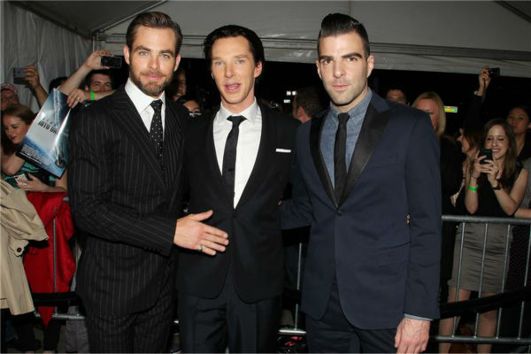 Benedict Cumberbatch poses in between co-stars Chris Pine and Zachary Quinto at the premiere of &#39;Star Trek Into Darkness&#39; in New York on May 9, 2013. Cumberbatch plays the villain Khan in the film. <span class=meta>(Dave Allocca &#47; Startraksphoto.com)</span>
