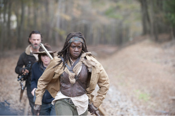 Rick Grimes &#40;Andrew Lincoln&#41;, Carl Grimes &#40;Chandler Riggs&#41; and Michonne &#40;Danai Gurira&#41; appear in a scene from AMC&#39;s &#39;The Walking Dead&#39; season 4 finale, which aired on March 30, 2014. <span class=meta>(Gene Page &#47; AMC)</span>