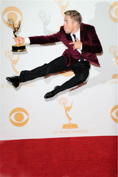 "<div class=""meta image-caption""><div class=""origin-logo origin-image ""><span></span></div><span class=""caption-text"">The time Derek Hough leaped for joy backstage at the 2013 Emmy Awards in Los Angeles on Sept. 22, 2013 after winning his first Emmy. The 'Dancing With The Stars' pro dancer and choreographer won Outstanding Choreography. He has been nominated five times. (Lionel Hahn / AbacaUSA / Startraksphoto.com)</span></div>"