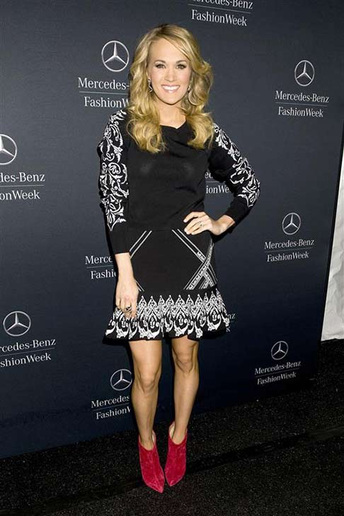 Carrie Underwood appears at the Rebecca Minkoff show during Mercedes-Benz Fashion Week in New York City on Feb. 7, 2014.