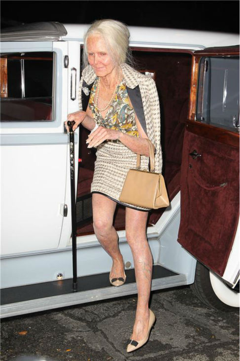 Heidi Klum, dressed in an elderly woman costume, arrives at her 14th annual Halloween party, held at the Marquee nightclub in New York on Oct. 31, 2013. <span class=meta>(Amanda Schwab &#47; Startraksphoto.com)</span>