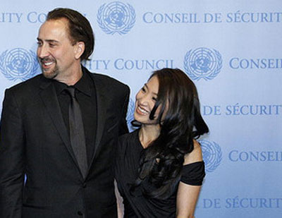 Nicolas Cage and wife Alice Kim appear to meet with the Secretary-General on Dec. 4, 2009 in New York.