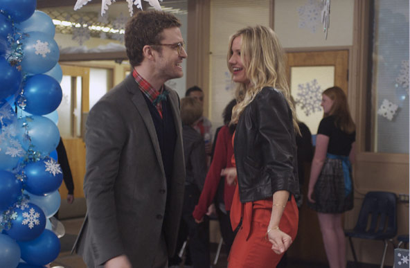 The 2011 film &#39;Bad Teacher&#39; stars both Cameron Diaz and ex-boyfriend Justin Timberlake. On working with her ex, Diaz told People magazine in April 2011 that it, &#39;really wasn&#39;t a big deal. Justin and I have always had a good laugh together, and to make a movie where we get to have a laugh together - there really was no one else who was more perfect for this part.&#39; The pair, who called it quits in 2007, dated for almost four years. &#40;Pictured: Cameron Diaz and Justin Timberlake appear in a scene from their 2011 film, &#39;Bad Teacher.&#39;&#41; <span class=meta>(Columbia Pictures)</span>