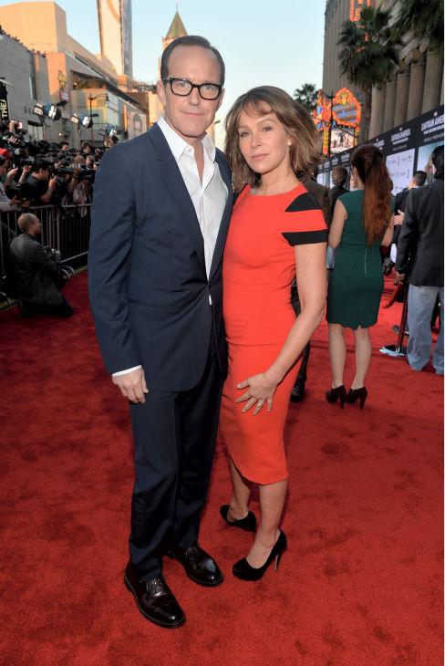 "<div class=""meta image-caption""><div class=""origin-logo origin-image ""><span></span></div><span class=""caption-text"">Clark Gregg (L) of 'The Avengers and the ABC series Marvel's 'Agents of S.H.I.E.L.D' and wife Jennifer Grey of 'Dirty Dancing' fame (who is also a former winner of ABC's 'Dancing With The Stars') attend the premiere of Marvel's 'Captain America: The Winter Soldier' at the El Capitan Theatre in Hollywood, California on March 13, 2014. (Alberto E. Rodriguez / Getty Images for Disney)</span></div>"