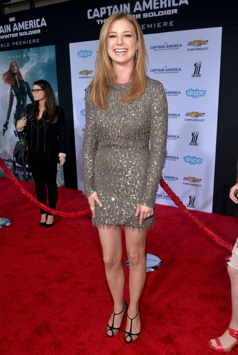 Cast member Emily VanCamp &#40;also known for her role on ABC&#39;s &#39;Revenge&#39;&#41; attends the premiere of Marvel&#39;s &#39;Captain America: The Winter Soldier&#39; at the El Capitan Theatre in Hollywood, California on March 13, 2014. She is wearing a Monique Lhuillier pre-Fall 2013 dress. <span class=meta>(Alberto E. Rodriguez &#47; Getty Images for Disney)</span>