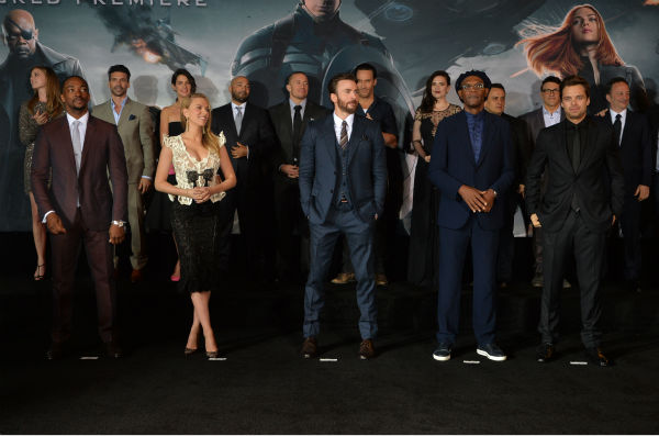 &#40;L-R&#41; Actors Anthony Mackie, Scarlett Johansson, Chris Evans, Samuel L. Jackson, Sebastian Stan, Emily VanCamp, Frank Grillo, Cobie Smulders, Maximiliano Hernandez, Georges St-Pierre, Callan Mulvey, Hayley Atwell, directors Joe Russo and Anthony Russo and executive producer Louis D&#39;Esposito attend the premiere of Marvel&#39;s &#39;Captain America: The Winter Soldier&#39; at the El Capitan Theatre in Hollywood, California on March 13, 2014. <span class=meta>(Alberto E. Rodriguez &#47; Getty Images for Disney)</span>