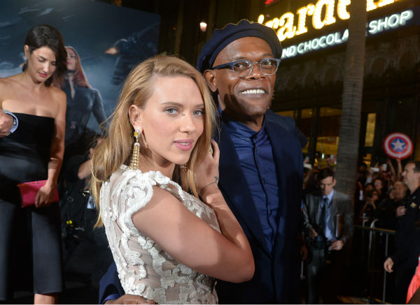 Cast members Scarlett Johansson &#40;who is reportedly pregnant&#41; and Samuel L. Jackson attend the premiere of Marvel&#39;s &#39;Captain America: The Winter Soldier&#39; at the El Capitan Theatre in Hollywood, California on March 13, 2014. <span class=meta>(Alberto E. Rodriguez &#47; Getty Images for Disney)</span>