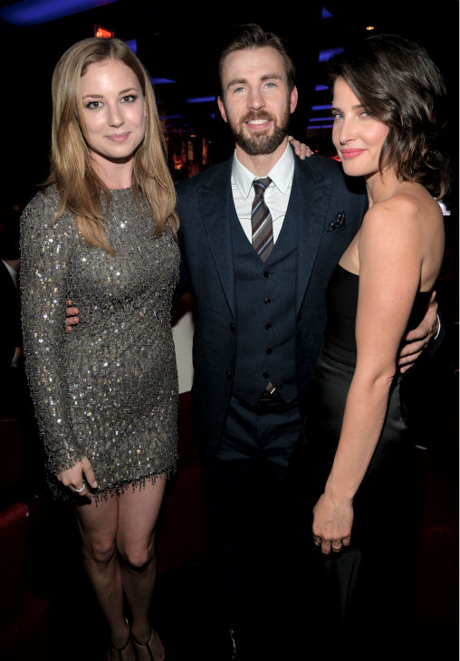 Cast members Cobie Smulders &#40;also known for CBS&#39; &#39;How I Met Your Mother&#39;&#41;, Chris Evans and Emily VanCamp&#41; also known for her role in ABS&#39;s &#39;Revenge&#39;&#41; attend the after party for the premiere of Marvel&#39;s &#39;Captain America: The Winter Soldier&#39; at the El Capitan Theatre in Hollywood, California on March 13, 2014. <span class=meta>(Alberto E. Rodriguez &#47; Getty Images for Disney)</span>