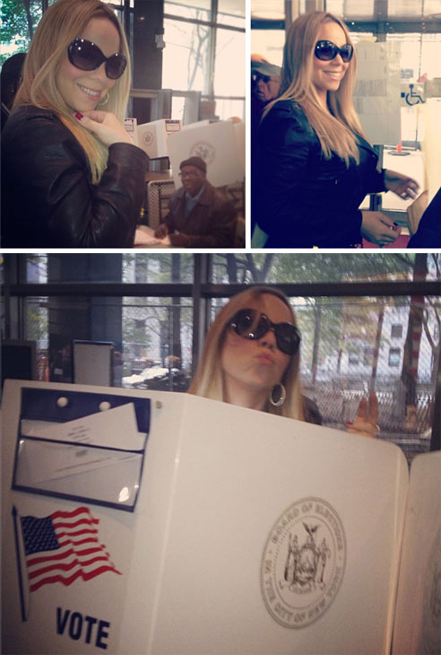 Mariah Carey Tweeted several Instagram photos of herself voting on Election Day on Nov. 6, 2012, saying: &#39;Pon de line, ooooh it&#39;s early! Haaaaa #Obama2012&#39; and &#39;Let your vote be heard!! Four more years!&#39;  <span class=meta>(instagram.com&#47;p&#47;RsjBnzLePf&#47; instagram.com&#47;p&#47;RsiIHwLeOz&#47; instagram.com&#47;p&#47;RsilVbrePK&#47; twitter.com&#47;MariahCarey)</span>