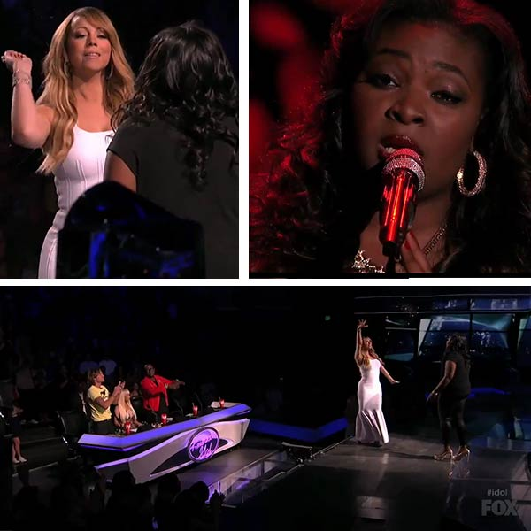 Mariah Carey glitter-bombs Candice Glover on the FOX show American Idol on April 10, 2013. - Provided courtesy of FOX