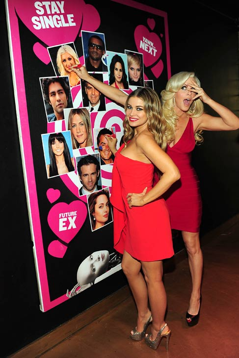 Jenny McCarthy and Carmen Electra appear at SVEDKA Vodka&#39;s Anti-Valentine&#39;s Day Bash at AGENCY Boutique Nightclub in Los Angeles on Jan. 31, 2012. <span class=meta>(Michael Williams &#47; StarTraksPhoto.com)</span>