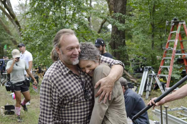 Melissa McBride &#40;Carol Peletier&#41; and Co-Executive Producer&#47;SFX Makeup Supervisor Greg Nicotero appear on the set of AMC&#39;s &#39;The Walking Dead&#39; episode 14, &#39;The Grove,&#39; which aired on March 16, 2014. <span class=meta>(Gene Page &#47; AMC)</span>