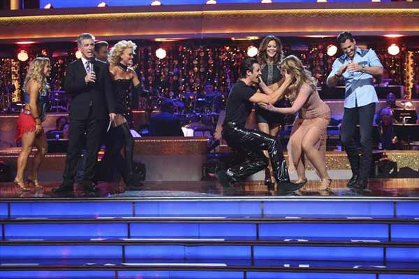 Kirstie Alley and her partner Maksim Chmerkovskiy react to being safe from elimination on &#39;Dancing With The Stars: The Results Show&#39; on October 30, 2012. The two received 27.5 out of 30 points from the judges for their Rumba on &#39;Dancing With The Stars: All-Stars,&#39; which aired on October 29, 2012. <span class=meta>(ABC Photo)</span>