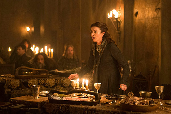 "<div class=""meta ""><span class=""caption-text "">Michelle Fairley appears as Catelyn Stark in a scene from the 'Red Wedding' scene of season 3 of the HBO series 'Game of Thrones.' (Helen Sloan / HBO)</span></div>"