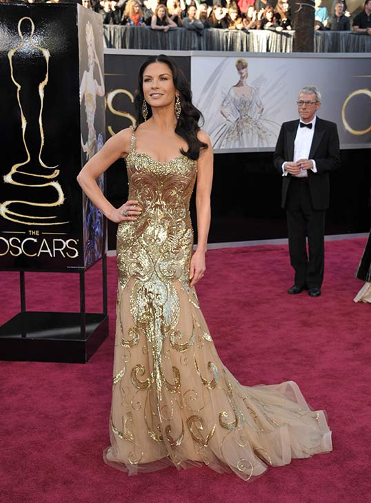 Catherine Zeta-Jones arrives at the 2013 Oscars...