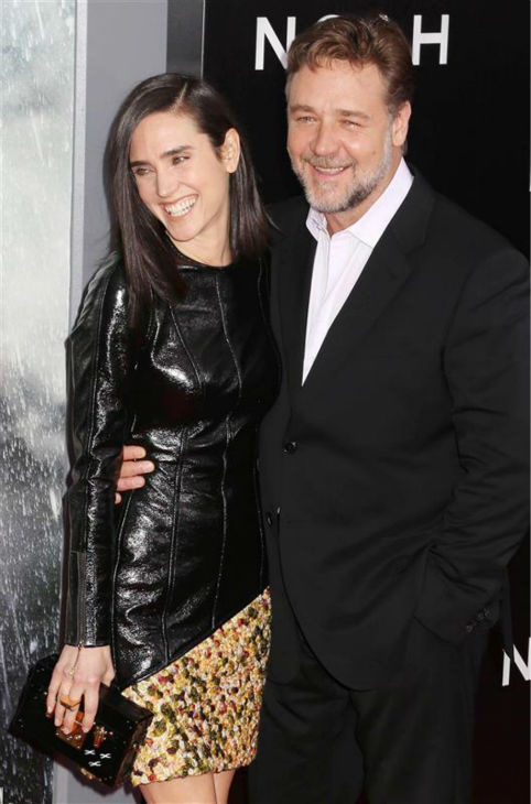 Jennifer Connelly and Russell Crowe appear at the premiere of &#39;Noah&#39; in New York on March 26, 2014. He plays Noah and she plays his wife, Naameh, in Darren Aronofsky&#39;s movie. Jennifer Connelly and Russell Crowe appear at the premiere of &#39;Noah&#39; in New York on March 26, 2014. He plays Noah and she plays his wife, Naameh, in Darren Aronofsky&#39;s movie. The actress is wearing a custom-made Louis Vuitton leather and yellow tweed mini-dress. The two and Connelly&#39;s husband, Paul Bettany,&#39; all appeared in the 2001 movie &#39;A Beautiful Mind,&#39; which earned the actress an Oscar. <span class=meta>(Abaca &#47; Startraksphoto.com)</span>