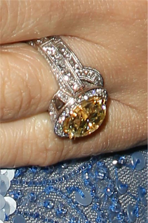 A closeup of Carrie Underwood&#39;s wedding and engagement ring. She is seen at the T.J. Martell Foundation&#39;s 38th Annual Honors Gala in New York on Oct. 22, 2013. The country star, who wore a beaded, tulle periwinkle-colored Randi Rahm cocktail dress, was given the 2013 Artist Acheivement Award at the event. The T.J. Martell Foundation funds medical research aimed at finding cures for leukemia, cancer and AIDS.  <span class=meta>(Amanda Schwab &#47; Startraksphoto.com)</span>