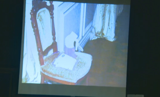 Oct. 5, 2011: During Conrad Murray&#39;s involuntary manslaughter trial, L.A. Coroner&#39;s Office investigator identified items she recovered from the bedroom where Michael Jackson was found lifeless.Pictured: Inside the room is chair with a jug or urine resting on it. <span class=meta>(OTRC)</span>