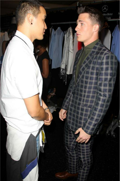 Designer Richard Chai talks to 'Teen Wolf' actor Colton Haynes at his fashion show at Lincoln Center in New York, part of the Spring 2014 Mercedes-Benz Fashion Week, on Sept. 5, 2013.