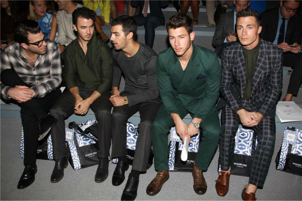 Zachary Quinto, Jonas Brothers members Kevin, Joe and Nick Jonas and &#39;Teen Wolf&#39; actor Colton Haynes sit together at Richard Chai&#39;s fashion show at Lincoln Center in New York, part of the Spring 2014 Mercedes-Benz Fashion Week, on Sept. 5, 2013. <span class=meta>(Amanda Schwab &#47; Startraksphoto.com)</span>