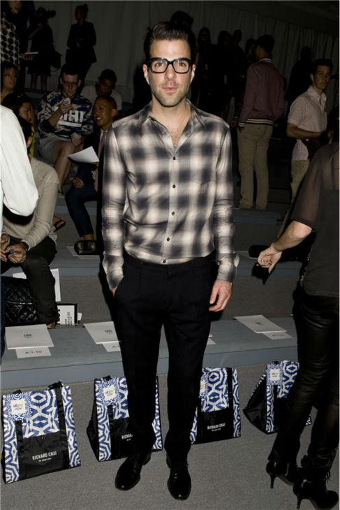 Zachary Quinto appears at Richard Chai&#39;s fashion show at Lincoln Center in New York, part of the Spring 2014 Mercedes-Benz Fashion Week, on Sept. 5, 2013. <span class=meta>(Justin Campbell &#47; Startraksphoto.com)</span>