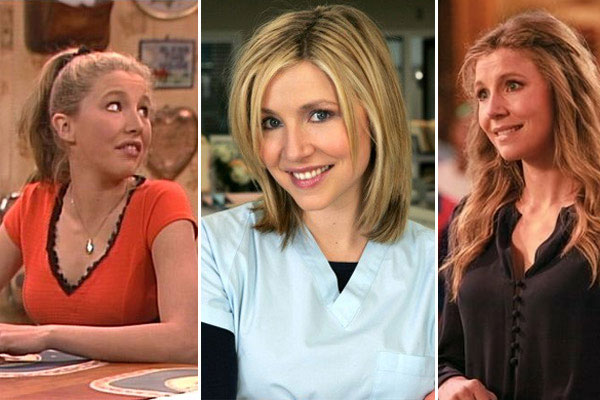 Sarah Chalke appears in a scene from 'Roseanne.' / Sarah Chalke appears in a promotional photo for 'Scrubs.' / Sarah Chalke appears in a scene from 'Cougar Town.'