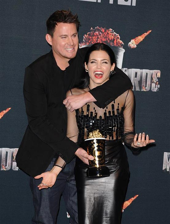 Channing Tatum and wife Jenna Dewan-Tatum appear backstage at the 2014 MTV Movie Awards at the Nokia Theatre in Los Angeles on April 13, 2014. Channing won the Trailblazer award. <span class=meta>(Kyle Rover &#47; Startraksphoto.com)</span>