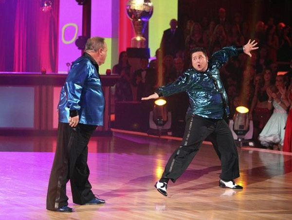 Chaz Bono returned to the ballroom for a final performance on &#39;Dancing With The Stars: The Results Show,&#39; on Tuesday, November 22, 2011. He appears here with Buddy Schwimmer, famous choreographer and father of dancer Lacey Schwimmer, Bono&#39;s show partner. <span class=meta>(OTRC Photo)</span>