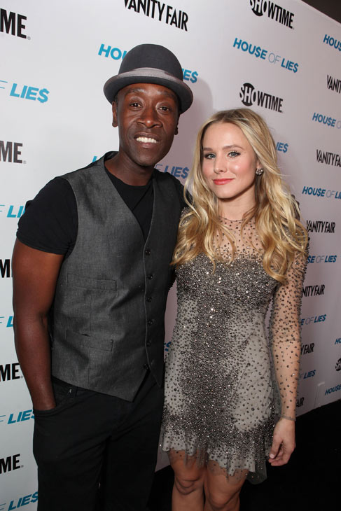 Kristen Bell and Don Cheadle appear at the Los Angeles premiere of their new Showtime series, 'House of Lies,' on Jan. 4, 2012.