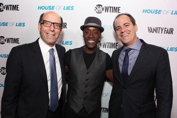 Chairman and CEO of Showtime Networks Matthew C. Blank, Don Cheadle and President of Entertainment at Showtime Networks David Nevins appear at the Los Angeles premiere of the cable channel&#39;s new series, &#39;House of Lies,&#39; on Jan. 4, 2012. <span class=meta>(Eric Charbonneau &#47; WireImage)</span>