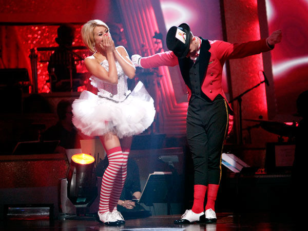 Chelsea Kane and her partner Mark Ballas react to being safe from elimination. The couple received 18 out of 30 from the judges for their Jive on week 2 of 'Dancing With The Stars' on Monday, March 28, 2011. Combined with the first week scores of 21 out o