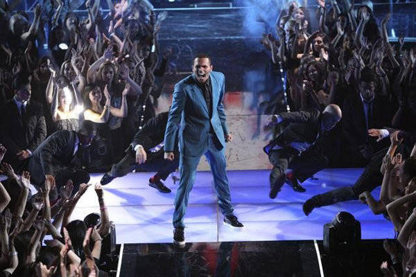 Chris Brown performed on the ballroom stage and...