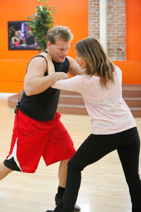 Chris Jericho, six-time WWE world champion gives his dancing partner Cheryl Burke some wrestling lessons during rehearsal for season 12 of 'Dancing With the Stars,' which premieres on March 21 at 8 p.m. on ABC.