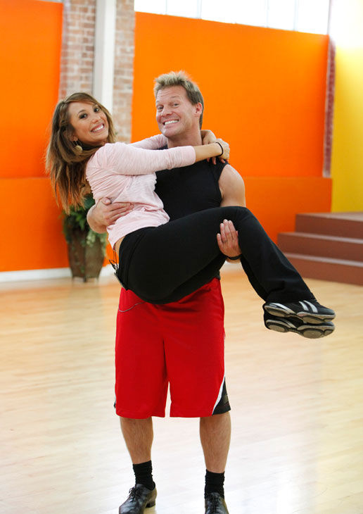 Chris Jericho, six-time WWE world champion gives his partner Cheryl Burke a lift during rehearsal for season 12 of 'Dancing With the Stars,' which premieres on March 21 at 8 p.m. on ABC.