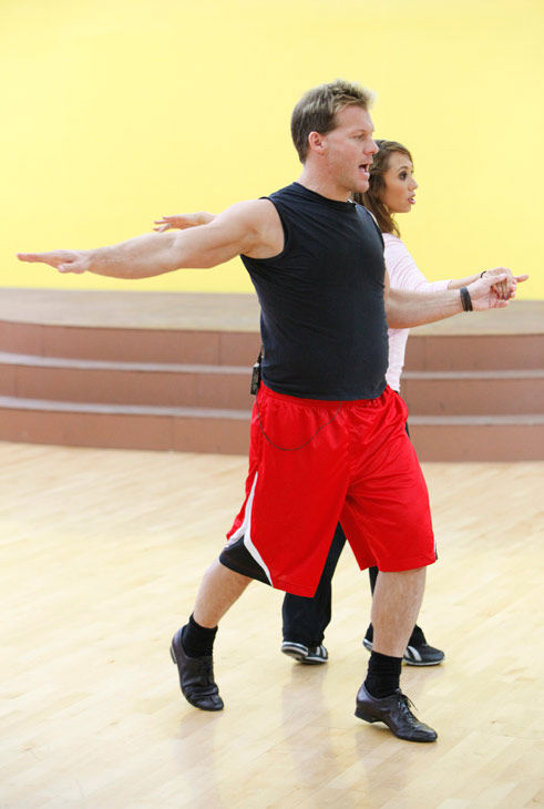 Chris Jericho, six-time WWE world champion prances with his partner Cheryl Burke during rehearsal f