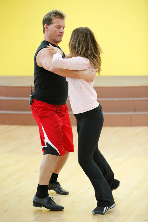 Chris Jericho and his partner Cheryl Burke do a waltz during rehearsal for