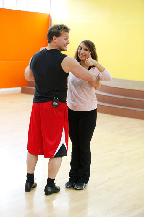 "<div class=""meta ""><span class=""caption-text "">Cheryl Burke gives her partner Chris Jericho a thumbs up during rehearsal for season 12 of 'Dancing With the Stars,' which premieres on March 21 at 8 p.m. on ABC. (ABC Photo/ Greg Zabilski)</span></div>"