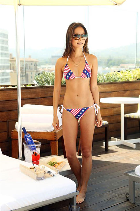 Jamie Chung of 'Once Upon A Time' fame appears in a Fourth of July-themed bikini at the Thompson hotel in Beverly Hills, California on June 18, 2013.