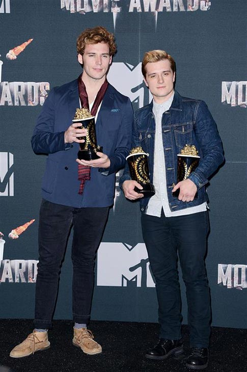 Sam Claflin and Josh Hutcherson appear backstage at the 2014 MTV Movie Awards at the Nokia Theatre in Los Angeles on April 13, 2014. They star in &#39;The Hunger Games: Catching Fire,&#39; which won the top award -- Movie of the Year. Hutcherson also won Best Male Performance for his role as Peeta. Main star Jennifer Lawrence won Best Female Performance for her role as Katniss, his love interest. She did not attend the ceremony. <span class=meta>(Lionel Hahn &#47; AbacaUSA &#47; Startraksphoto.com)</span>